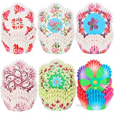 600 Pieces Colorful Flowers Cupcake Liners Heart Cupcake Baking Cups Petal Shaped Wrappers Muffin Case Trays for Birthday Party Decoration