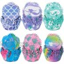 600 Pieces Mermaid Theme Cupcake Liners Summer Colorful Cupcake Baking Cups Mermaid Bubbles Cupcake Wrappers Seaweed Paper Wraps Muffin Case Trays for Summer Mermaid Sea Theme Party Decor
