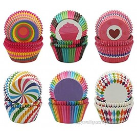 Cupcake Liners Disposable Paper Baking Cups Rainbow Cupcake Wrappers Nonstick Muffin Cases Molds 6 Styles Cupcake Liners for Cake Balls Muffins Cupcakes and Candies 600 Pack Colorful