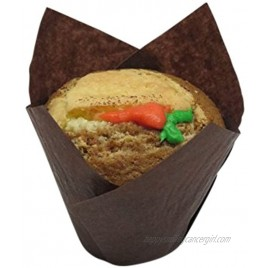 Decony brown Large Tulip Cupcake Liners Muffin Baking cups Paper Liners Great for large cupcakes and muffins Appx. 100 Ct. 2 3 4-4