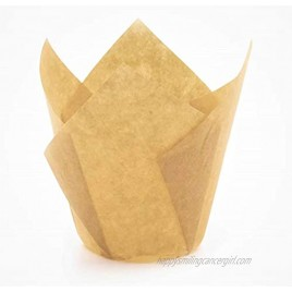Decony Large Tulip Baking Cup Liners Muffin Cupcake Paper Liners -200 pack Great for large cupcakes and muffins Appx. 200 Ct. 2 3 4-4 Natural