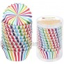 Gifbera Striped Rainbow Foil Lined Standard Cupcake Liners Multicolor Baking Cups 200-Count
