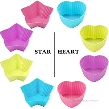 GREENRAIN Reusable Silicone Baking Cups Muffin Baking Cups Cup Cake Liners 6 Shapes Pack of 24