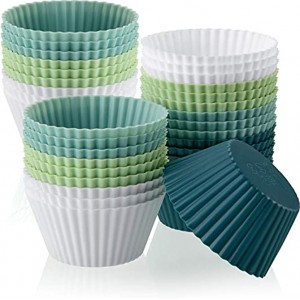 Silicone Baking Cups Silicone Cupcake Liners Reusable Muffin Cups Non-Stick Cup Cupcake Holder Molds for Baby Shower Birthday Party Supplies White Light Blue Light Green Navy Blue,36 Pieces