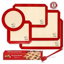 6PCS Silicone Baking Mats 2 Half Sheets Mats + 1 Quarter Sheet Liner + 1 Round + 1 Square Cake Pan Mat + 1 Silicone Baking Brush- 100% Food Safe Silicone & Non-Stick,For Baking Cake Cookie
