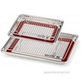 New Star Foodservice 1028768 Commercial-Grade Bun Pan Baking Sheet Baking Mat Cooling Rack Combo 1 8 and 1 4 Sizes Each