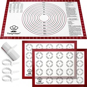 """Silicone Baking Mat Pack of 3 Silicone Pastry Baking Mats 2Pcs 16.5"""" x 11.6"""" Non-Stick Macaron Mat for Baking Sheet and 1Pc 16"""" x 24"""" Silicone Pastry Mat with Measurement for Rolling Dough"""