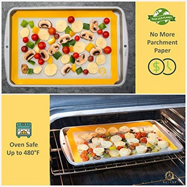 Silicone Baking Mats Pack of 2- 100% Nonstick Food Safe Half Sheets Reusable Oven Cooking Liners Bake Pans Pastry & Cookie Macaroon Bun Bread Rolling Dough -NON-TOXIC No Chemical Taste