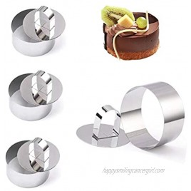 4-Pack Round Cake Ring Cake Molds Stainless Steel Mini Baking Ring Mold with Pusher Mousse and Pastry Rings Small Food Rings Cake Rings Dessert Rings Tart Rings 3.15 x 1.6