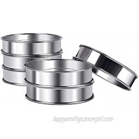 English Muffin Rings ARRITZ 6pcs Stainless Steel Crumpet Rings for Cake 4 Inches Double Rolled Baking Ring for Tart Round