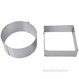 KOBSAINF 2-Piece Adjustable Stainless Steel Cake Mold Ring Round and Square Cake Decor Baking Mold Ring Baking Tool