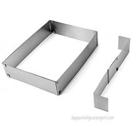 QWORK Stainless Steel Sheet Pan Extender Adjustable Cake Mold Ring Half Size Square