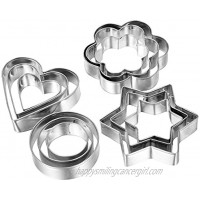 Docik 12 Piece Small Stainless Steel Cookie Cutter Cake Vegetable Fruit Biscuit Cutters Molds Set Heart Flower Star Round Shape