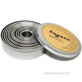 Kayaso Round Cutters in Graduated Sizes Stainless Steel 12 Pc Set Plain Edge