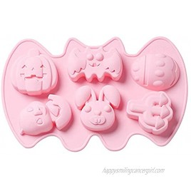 Luxtrip 1 piece Halloween silicone mold DIY baking handmade soap cake mold 6 hole pumpkin bat and other molds