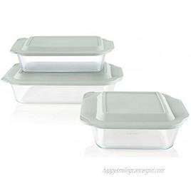 Pyrex Deep Baking Dish Set 6-Piece BPA-Free Lids