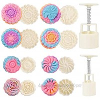 Barelove Bath Bombs Moon Cake Molds Kit with 8 PCS 3D Thick Floral Shaped Stamps for 2 Sets Mid-Autumn Festival Decoration Pastry Cookie Soap Hand-Pressure Mooncake Maker Cutter Tools Set 50g+100g