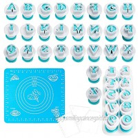 Woohome 40 PCS Fondant Cutters Alphabet & Numbers Fondant Cake Mold Cookie Stamp Impress Cake Biscuit Mold Cake Embosser Cutter Silicone Pad and Scraper for DIY Biscuit Cake Molds