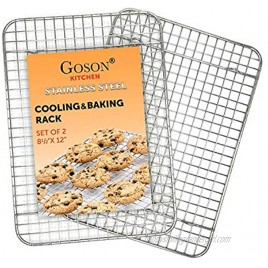 Goson Kitchen Stainless Steel Heavy Duty Metal Wire Cooling Cooking Baking Rack For Baking Sheet Oven Safe up to 575F Dishwasher Safe Rust Free   8.5x12; SET OF 2