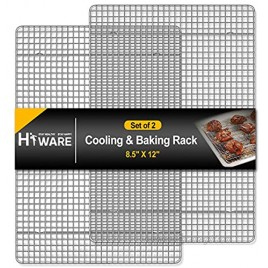 Hiware 2-Pack Cooling Racks for Baking 8.5 x 12 Quarter Size Stainless Steel Wire Cookie Rack Fits Quarter Sheet Pan Oven Safe for Cooking Roasting Grilling