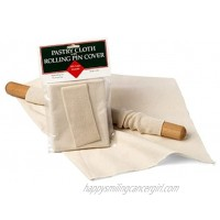 Unbleached Cotton Pastry Cloth and Rolling Pin Cover Set