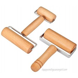 Wood Pastry Pizza Roller 2 Pieces Non Stick Wooden Rolling Pin Time-Saver Pizza Dough Roller for Home Kitchen Baking Cooking