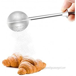 Flour Sifter for Baking Powdered Sugar Shaker Duster with Lid Stainless Steel Mini Whisk Powder Sifters for Baking Tools Dusting Flour Wand for Spices Syrup Sugar Dispenser