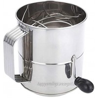 Flour Sifter,Stainless Steel Hand Crank Flour Sifter 8 Cup Sifter