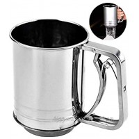 Snowyee Flour Sifter for Baking Stainless Steel 3 Cup Double Layers Sieve with Hand Press Design 1 Piece