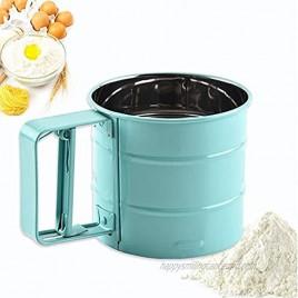 Stainless Steel Flour Sieve Handheld Powder Flour Mesh Sifter Flour Sifter with Hand Press Design,Kitchen Baking Tool for Baking-2 Cup Green