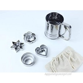 Stainless Steel Flour Sifter for Baking Bread with 12 Pieces of Cookie Cutters Round Flour Sieve Hand Held 3 Cups Used for Ordinary Flour 3 CUPS