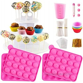 Cake Pop Maker Kit with Silicone Mold with 3 Tier Cake Stand Chocolate Candy Melts Pot Silicone Cupcake Molds Paper Lollipop Sticks Decorating Pen with Piping Tips Bag and Twist Ties
