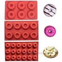 QWDLID 3 Pieces Donuts Mould Food Grade Silicone Dough nut Mold Set 6 Holes 8 Holes 18 Holes Baking Mold for Doughnut Cake Jelly Mousse Pastry S & M & L