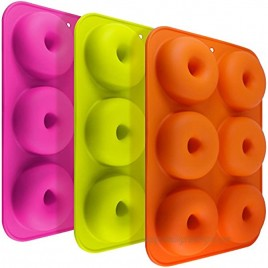 3 Pack Silicone Donut Molds FineGood 6 Cavity Non-Stick Full-Sized Safe Baking Tray Maker Pan Heat Resistance for Cake Biscuit Bagels Muffins-Orange Rose Red Green