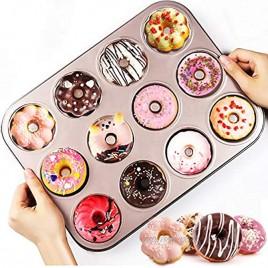 Exzycke Non-Stick Donut Pan 12-Cavity Carbon Steel Cake Bagel Baking Doughnut Mold For Oven Baking