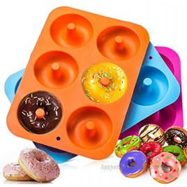 Suuker 3Pcs Silicone Donut Mold Baking Pan,DIY Doughnuts Mould Maker,Non-Stick Silicone Cake Mold for Donuts Bagels,Pastry Baking Tools