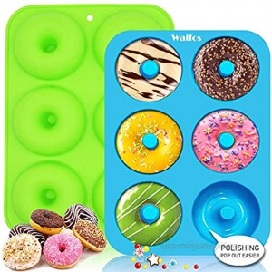 Walfos Silicone Donut Mold Non-Stick Silicone Doughnut Pan Set Just Pop Out! Heat Resistant Make Perfect Donut Cake Biscuit Bagels BPA FREE and Dishwasher Safe Set of 2