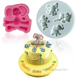 Mity rain Elephant Chocolate mold Small Elephant Silicone Cake Fondant Mold for Cupcake Topper Candy Cake Lace Baby Shower Decoration Party Supplies