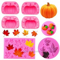 Rainmae 5Pcs Autumn 3D Pumpkin Silicone Mold Mini Pumpkin Mold for Thankgiving Cupcake Molds Maple Leaves Fondant Cake Decorating Chocolate Candy Clay Moulds for Fall Thanks Giving