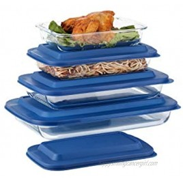 Doonmi- 4 Pack Classic Glass Baking Dish with Blue Lid(1 Quart,1.6 Quart 2.2 Quart and 3 Quart)  Freezer-to-Oven Safe Baking Dishes BPA-Free Lids Perfect for Cooking Cake Dinner Food Storage Banquet and Daily Use.