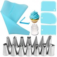 22 Pieces Cake Decorating Kit Supplies with 14 Piping Nozzles Decorating Tips,2 Piping Bags,2Piping Nozzles Coupler,3 Cake Scrapers,1 Bag Mouth Clip,Cake Making Cake Decoration Baking Tools
