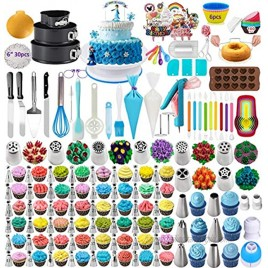 398PCS Baking Set with Springform Cake Pans Set Cake Decorating Supplies 2021Upgrade Cake Rotating Turntable,Cake Decorating Kits Muffin Cup Mold Cake Baking Supplies for Beginners and Cake Lovers