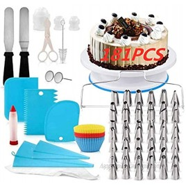 Cake Decorating Supplies Kit,Russian Piping Tips,Cake Rotating Turntable,Cake Leveler,Cake Decorating Kits Piping Bags And Tips Baking Set,Smoother & Spatulas,Frosting & Pastry Tools 181PCS