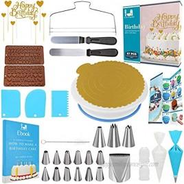 Cake Decorating Tools 67 pcs Cute Cake Decorating Kit with Cake Turntable Cake Decorating Supplies Baking Supplies and Baking Tools