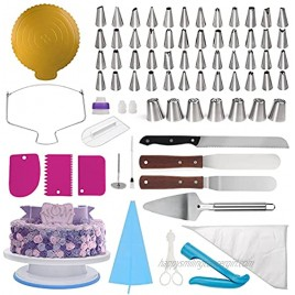 NANAKKI Cake Derocation Supplies with Decorating Rotation Turntable Set with Icing Spatula Piping Tips Pastry Bags Flower Nail Cake Pen Cake Leveler Icing Scraper Cake Stand Spinner,174pcs