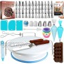 RFAQK 150 PCs Cake Decorating Supplies Kit for Beginners-1 Turntable stand-48 Numbered icing tips with pattern chart & E.Book-1 Cake Leveler-Straight & Angled Spatula-3 Russian Piping tips-Baking kit