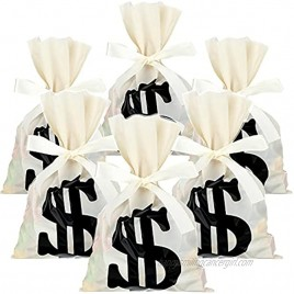100 Pieces Treat Bags Dollar Sign Party Favor Bags Money Dollar Print Candy Bags with 40 Yards Beige Ribbon Food Storage Bags for Toy Party Favor Theme Party Supplies 6 x 9 Inch