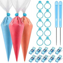 122 Pieces Cookie Decorating Tools 100 Pieces Piping Pastry Bag 10 Pieces Pastry Bag Ties 10 Pieces Pastry Bag Clips and 2 Pieces Plastic Awls for Easter Cookie Cake Decorating Blue
