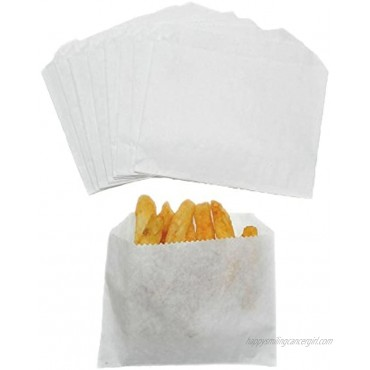 Regency Wraps French Fry Bags  4 x 3 White Grease Resistant 100 count 4.5x3.5