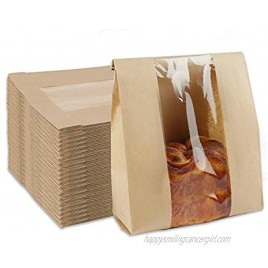 Toast Paper Bag 25 Pack Kraft Bread Bags with Window Label Seal Stickers Packaging Paper Bakery Bags for Loaf Pastry Cookies Candies 13.8 x 8.3 x 3.7 Inch